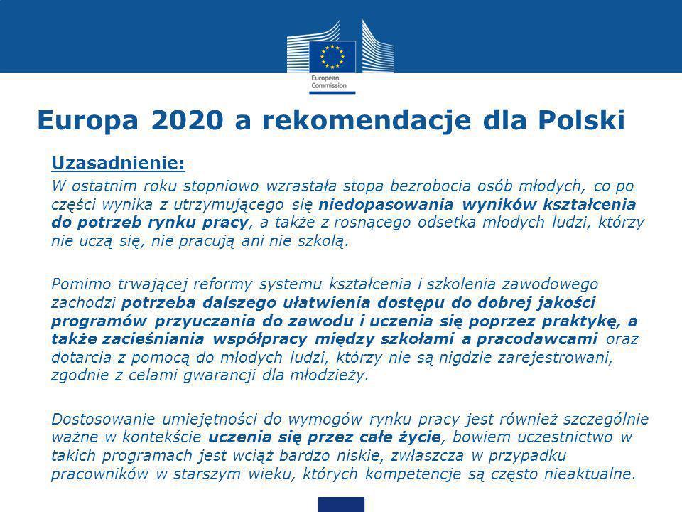 Europa 2020 a rekomendacje dla Polski Uzasadnienie: W ostatnim roku stopniowo wzrastała stopa bezrobocia osób młodych, co po części wynika z utrzymującego się niedopasowania wyników kształcenia do potrzeb rynku pracy, a także z rosnącego odsetka młodych ludzi, którzy nie uczą się, nie pracują ani nie szkolą.