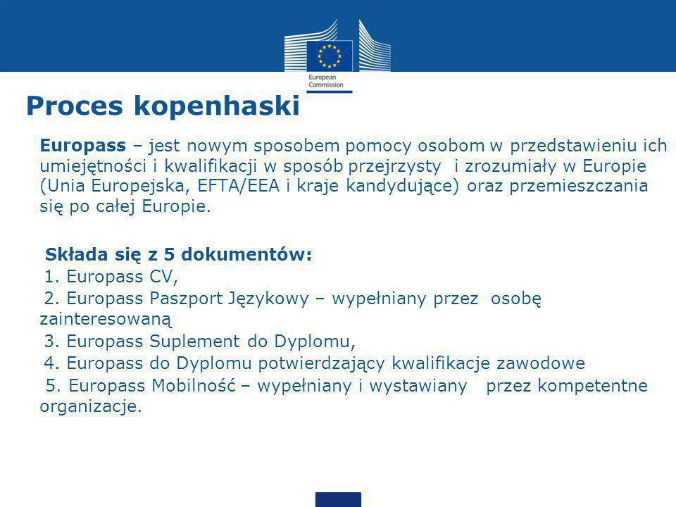 Proces kopenhaski Europejska struktura uznawania kwalifikacji (European Qualifications Framework - EQF) - Dzięki europejskiej strukturze kwalifikacji (EQF) możliwa jest ocena kwalifikacji danej osoby na podstawie jej umiejętności, tj.