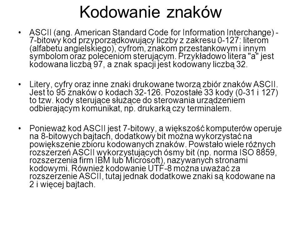 Kodowanie znaków ASCII (ang. American Standard Code for Information Interchange) - 7-bitowy kod przyporządkowujący liczby z zakresu 0-127: literom (al