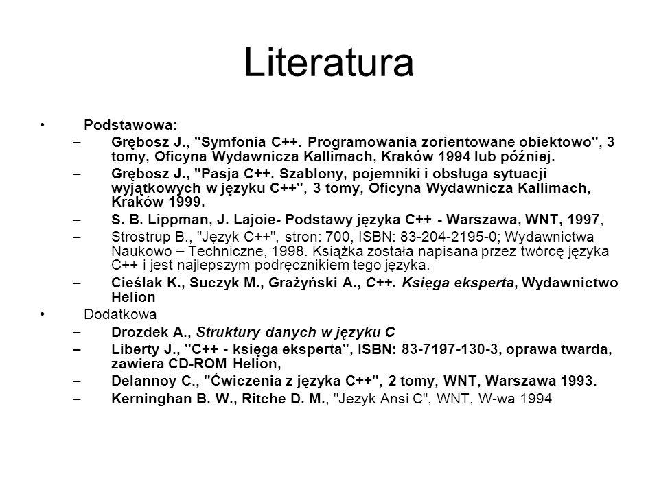 Sylabus 1.Wstęp do programowania 2.Instrukcje 3.Typy danych 4.Funkcje 5.Biblioteki