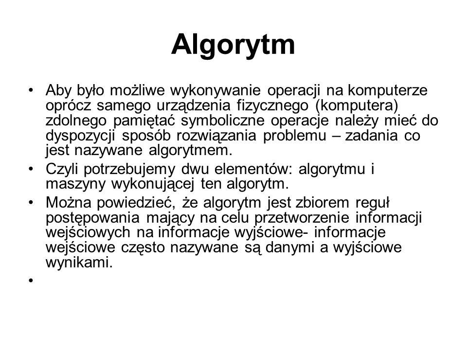 Algorytm Aby było możliwe wykonywanie operacji na komputerze oprócz samego urządzenia fizycznego (komputera) zdolnego pamiętać symboliczne operacje na