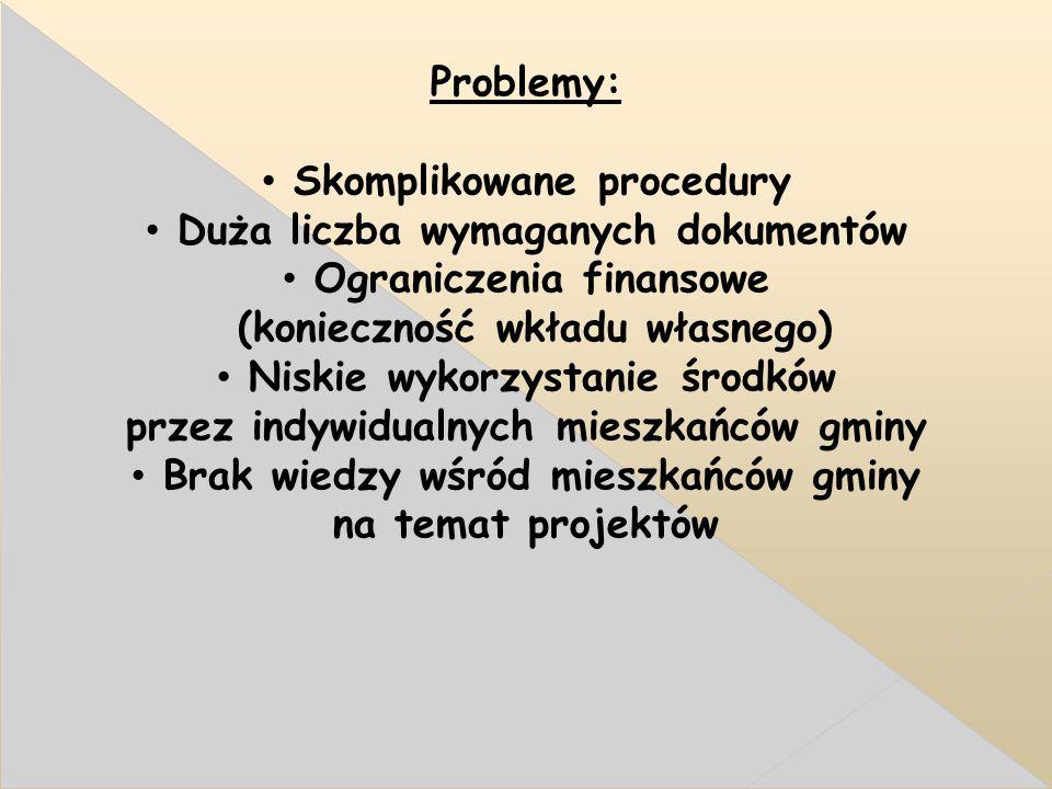 Problemy: Skomplikowane procedury Duża liczba wymaganych dokumentów Ograniczenia finansowe (konieczność wkładu własnego) Niskie wykorzystanie środków przez indywidualnych mieszkańców gminy Brak wiedzy wśród mieszkańców gminy na temat projektów