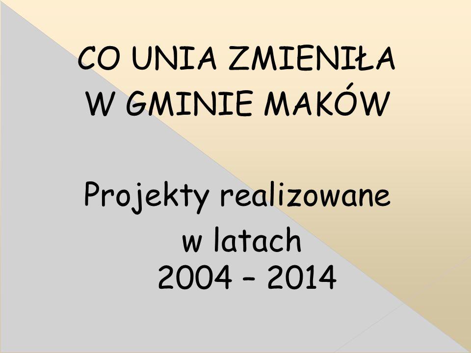 CO UNIA ZMIENIŁA W GMINIE MAKÓW Projekty realizowane w latach 2004 – 2014