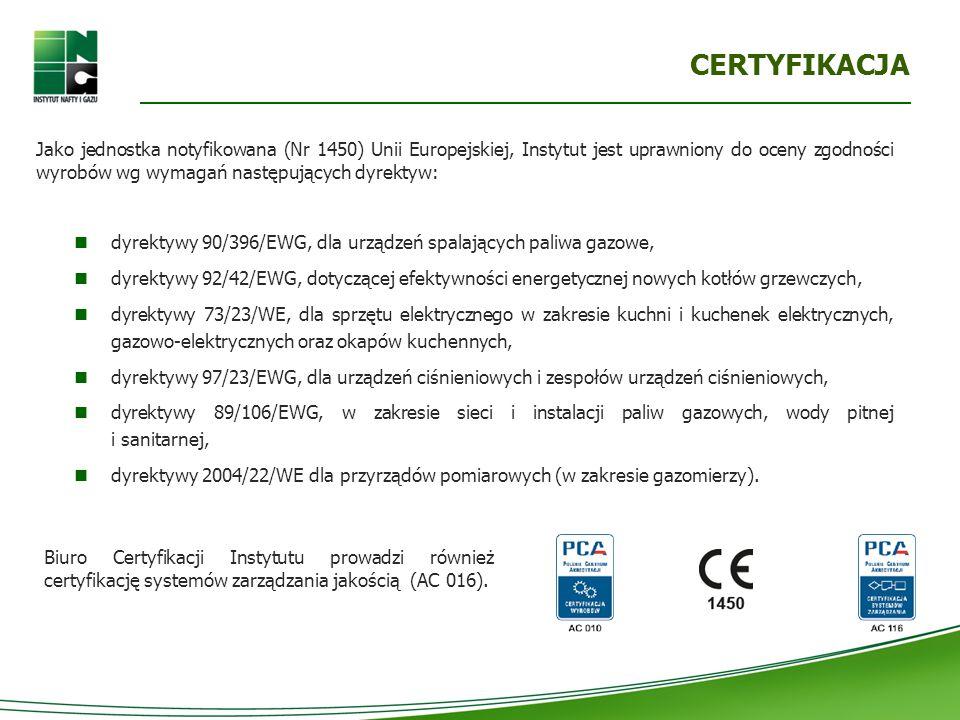 CERTYFIKACJA Jako jednostka notyfikowana (Nr 1450) Unii Europejskiej, Instytut jest uprawniony do oceny zgodności wyrobów wg wymagań następujących dyrektyw: dyrektywy 90/396/EWG, dla urządzeń spalających paliwa gazowe, dyrektywy 92/42/EWG, dotyczącej efektywności energetycznej nowych kotłów grzewczych, dyrektywy 73/23/WE, dla sprzętu elektrycznego w zakresie kuchni i kuchenek elektrycznych, gazowo-elektrycznych oraz okapów kuchennych, dyrektywy 97/23/EWG, dla urządzeń ciśnieniowych i zespołów urządzeń ciśnieniowych, dyrektywy 89/106/EWG, w zakresie sieci i instalacji paliw gazowych, wody pitnej i sanitarnej, dyrektywy 2004/22/WE dla przyrządów pomiarowych (w zakresie gazomierzy).