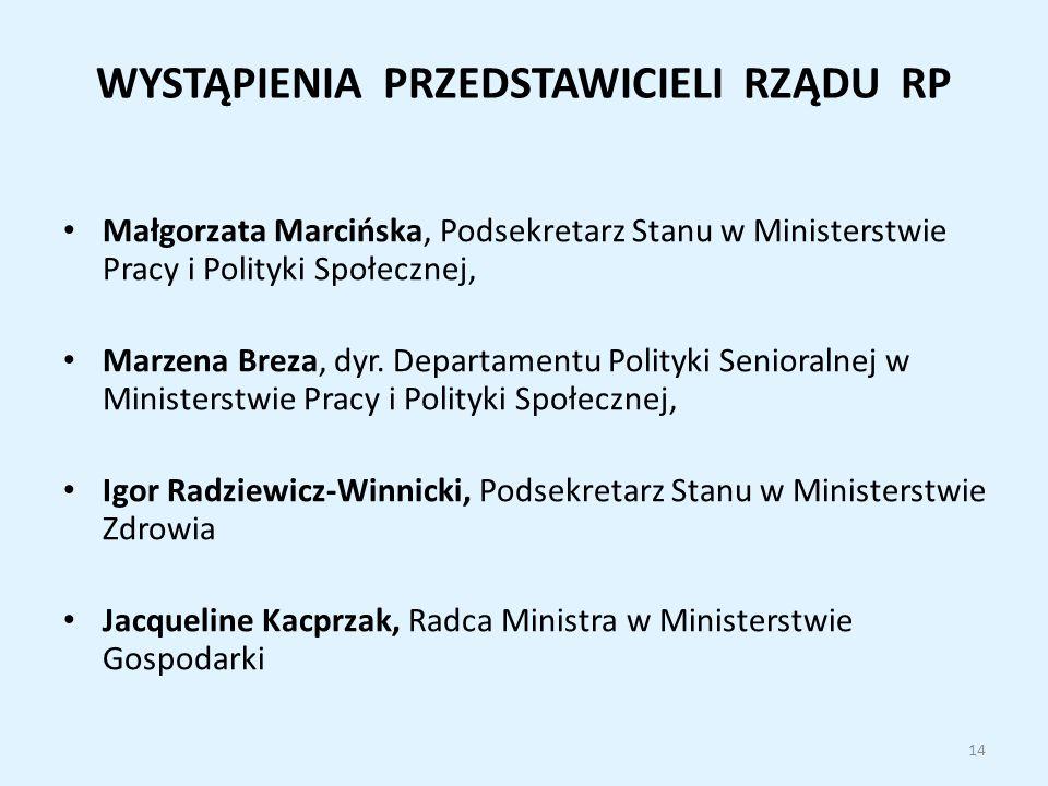 WYSTĄPIENIA PRZEDSTAWICIELI RZĄDU RP Małgorzata Marcińska, Podsekretarz Stanu w Ministerstwie Pracy i Polityki Społecznej, Marzena Breza, dyr.