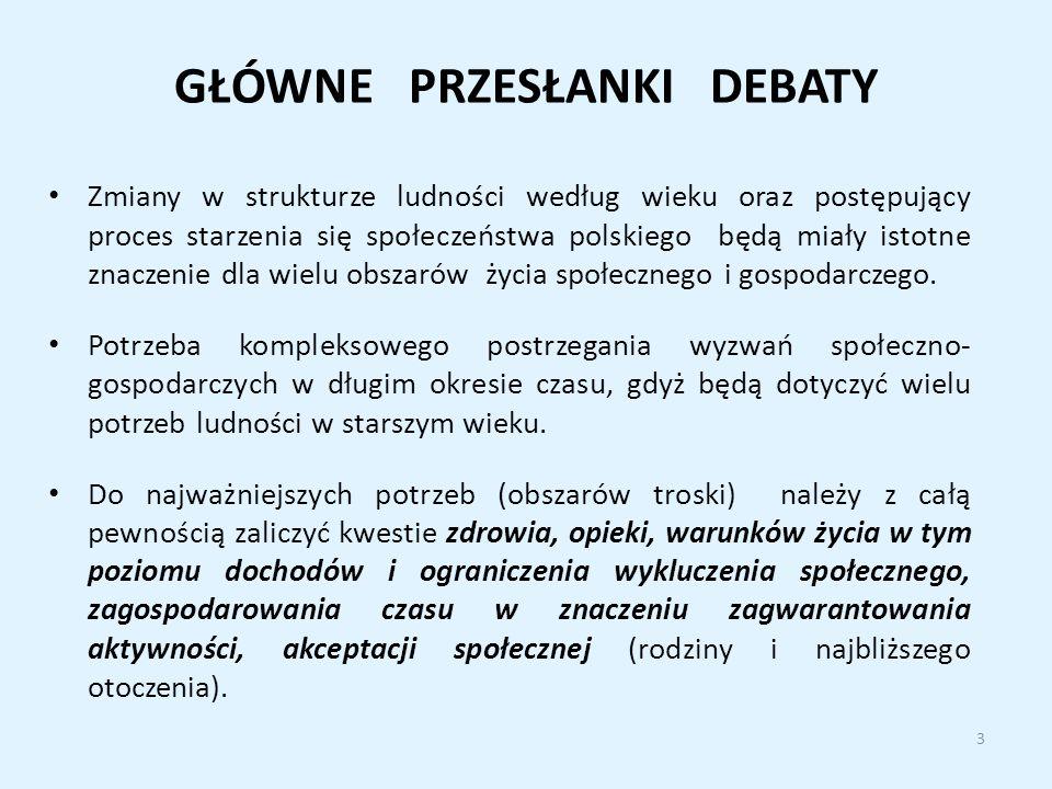 GŁÓWNE PRZESŁANKI DEBATY Zmiany w strukturze ludności według wieku oraz postępujący proces starzenia się społeczeństwa polskiego będą miały istotne znaczenie dla wielu obszarów życia społecznego i gospodarczego.