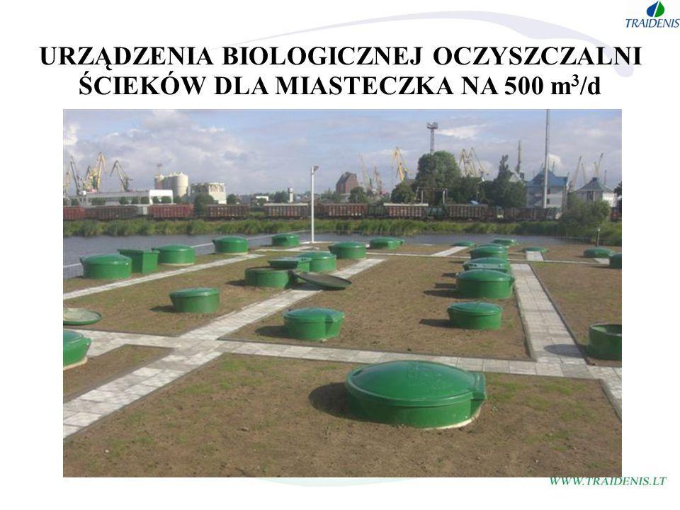 URZĄDZENIA BIOLOGICZNEJ OCZYSZCZALNI ŚCIEKÓW DLA MIASTECZKA NA 500 m 3 /d