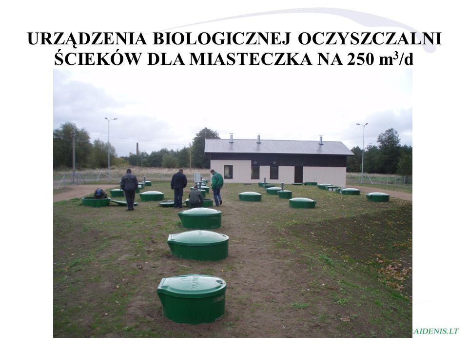 URZĄDZENIA BIOLOGICZNEJ OCZYSZCZALNI ŚCIEKÓW DLA MIASTECZKA NA 250 m 3 /d