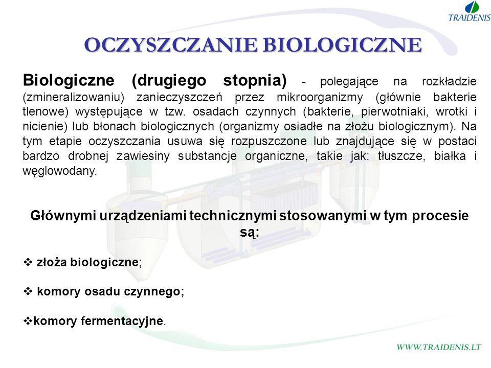 OCZYSZCZANIE BIOLOGICZNE Biologiczne (drugiego stopnia) - polegające na rozkładzie (zmineralizowaniu) zanieczyszczeń przez mikroorganizmy (głównie bak