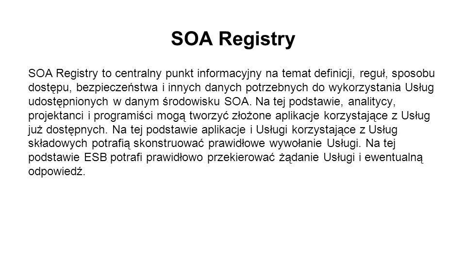 SOA Registry SOA Registry to centralny punkt informacyjny na temat definicji, reguł, sposobu dostępu, bezpieczeństwa i innych danych potrzebnych do wykorzystania Usług udostępnionych w danym środowisku SOA.