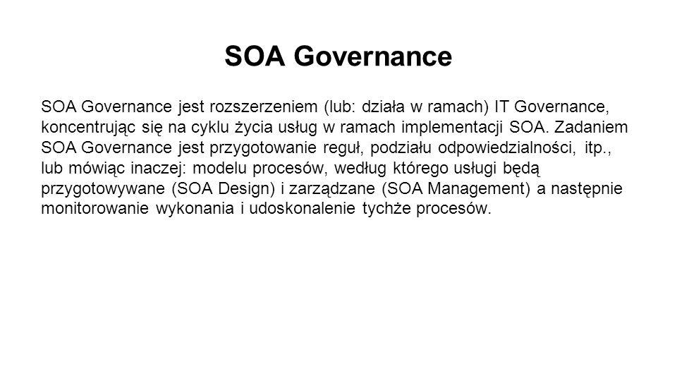 SOA Governance SOA Governance jest rozszerzeniem (lub: działa w ramach) IT Governance, koncentrując się na cyklu życia usług w ramach implementacji SOA.
