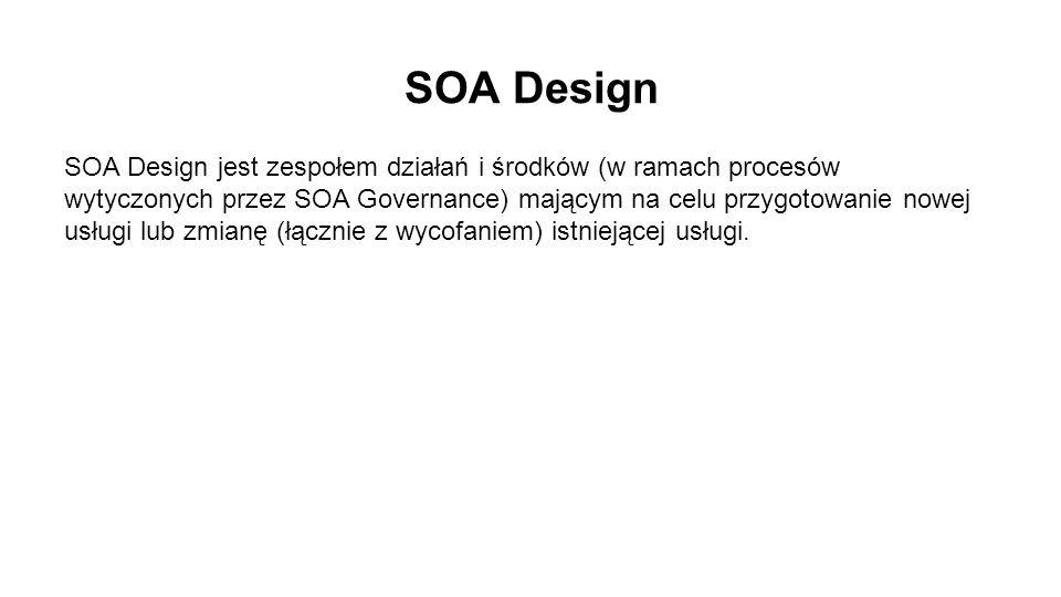 SOA Design SOA Design jest zespołem działań i środków (w ramach procesów wytyczonych przez SOA Governance) mającym na celu przygotowanie nowej usługi lub zmianę (łącznie z wycofaniem) istniejącej usługi.