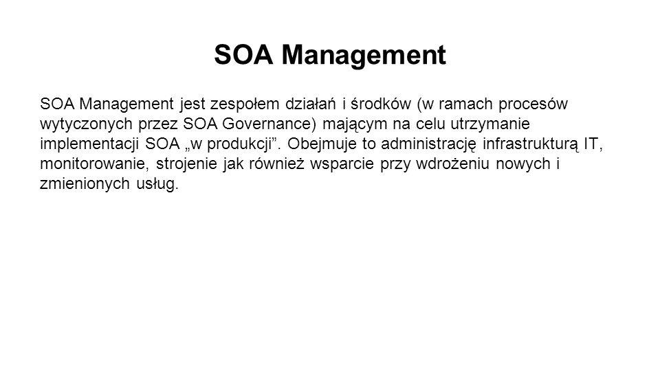 """SOA Management SOA Management jest zespołem działań i środków (w ramach procesów wytyczonych przez SOA Governance) mającym na celu utrzymanie implementacji SOA """"w produkcji ."""