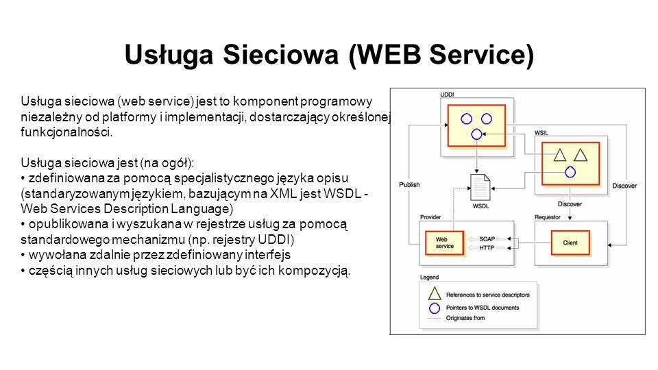 Usługa Sieciowa (WEB Service) Usługa sieciowa (web service) jest to komponent programowy niezależny od platformy i implementacji, dostarczający określonej funkcjonalności.