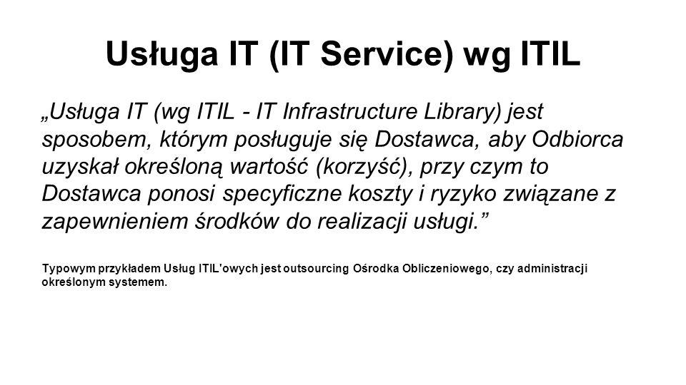 """Usługa IT (IT Service) wg ITIL """"Usługa IT (wg ITIL - IT Infrastructure Library) jest sposobem, którym posługuje się Dostawca, aby Odbiorca uzyskał określoną wartość (korzyść), przy czym to Dostawca ponosi specyficzne koszty i ryzyko związane z zapewnieniem środków do realizacji usługi. Typowym przykładem Usług ITIL owych jest outsourcing Ośrodka Obliczeniowego, czy administracji określonym systemem."""