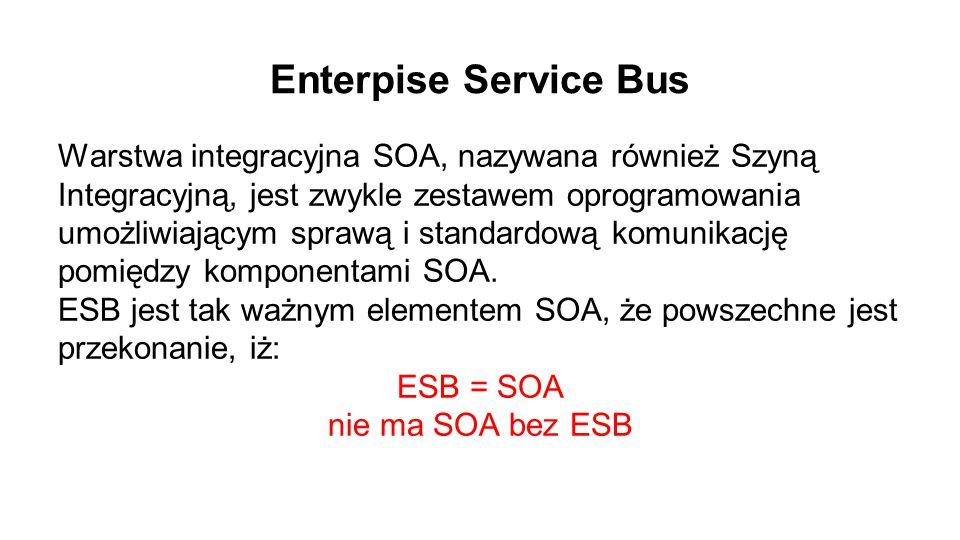 Enterpise Service Bus Warstwa integracyjna SOA, nazywana również Szyną Integracyjną, jest zwykle zestawem oprogramowania umożliwiającym sprawą i standardową komunikację pomiędzy komponentami SOA.