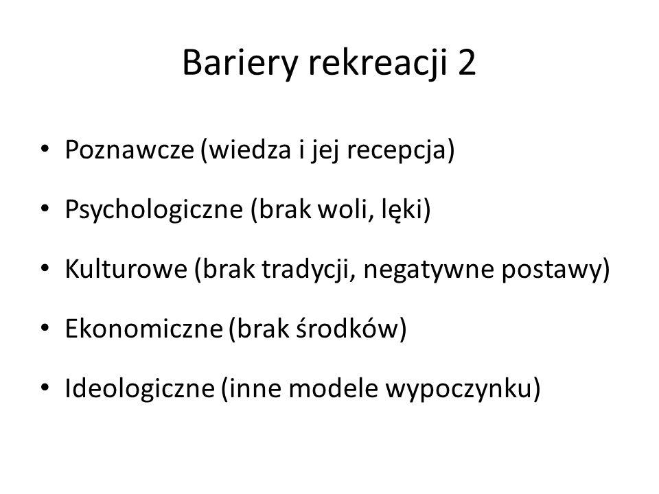 Bariery rekreacji 2 Poznawcze (wiedza i jej recepcja) Psychologiczne (brak woli, lęki) Kulturowe (brak tradycji, negatywne postawy) Ekonomiczne (brak środków) Ideologiczne (inne modele wypoczynku)