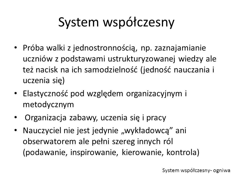 System współczesny Próba walki z jednostronnością, np.