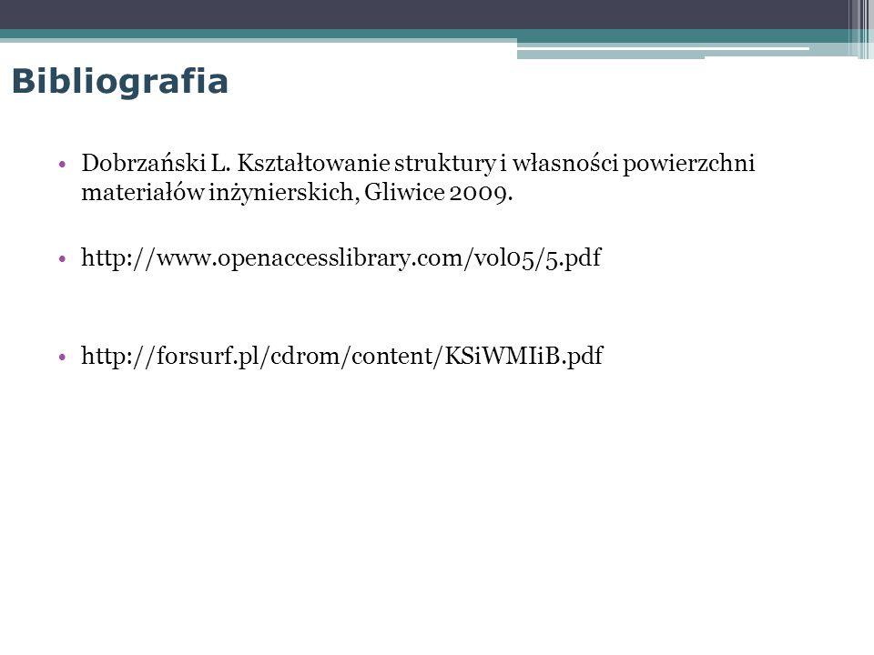 Bibliografia Dobrzański L. Kształtowanie struktury i własności powierzchni materiałów inżynierskich, Gliwice 2009. http://www.openaccesslibrary.com/vo