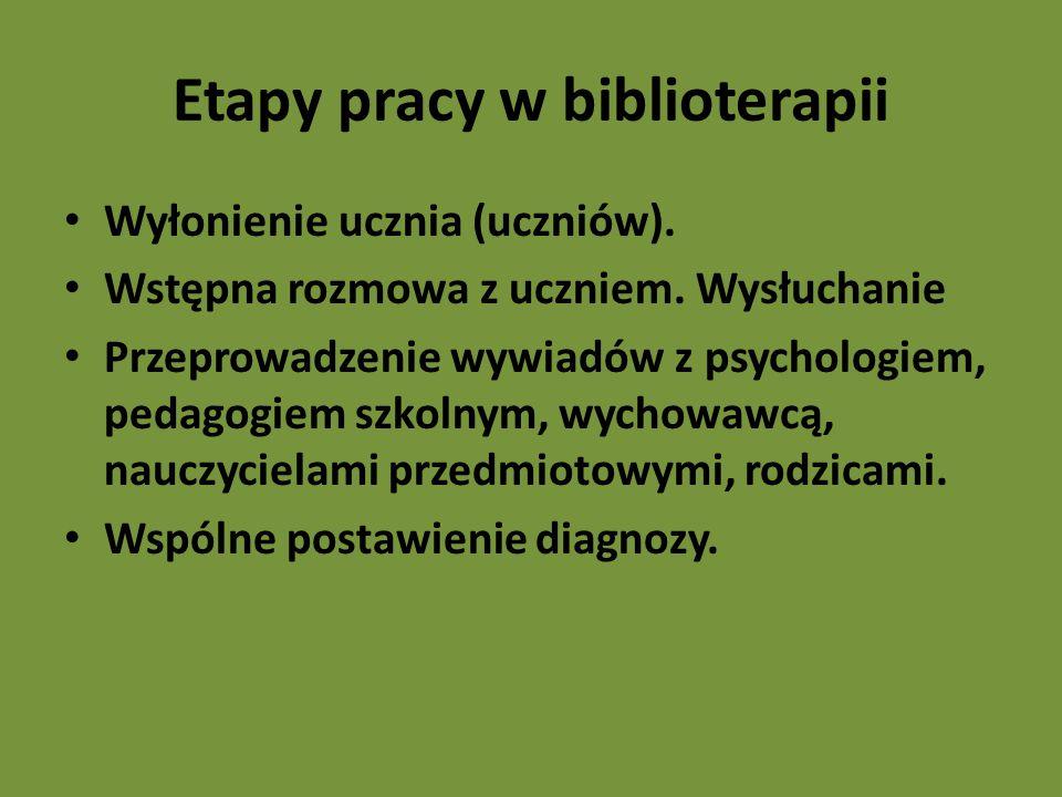 Etapy pracy w biblioterapii Wyłonienie ucznia (uczniów).