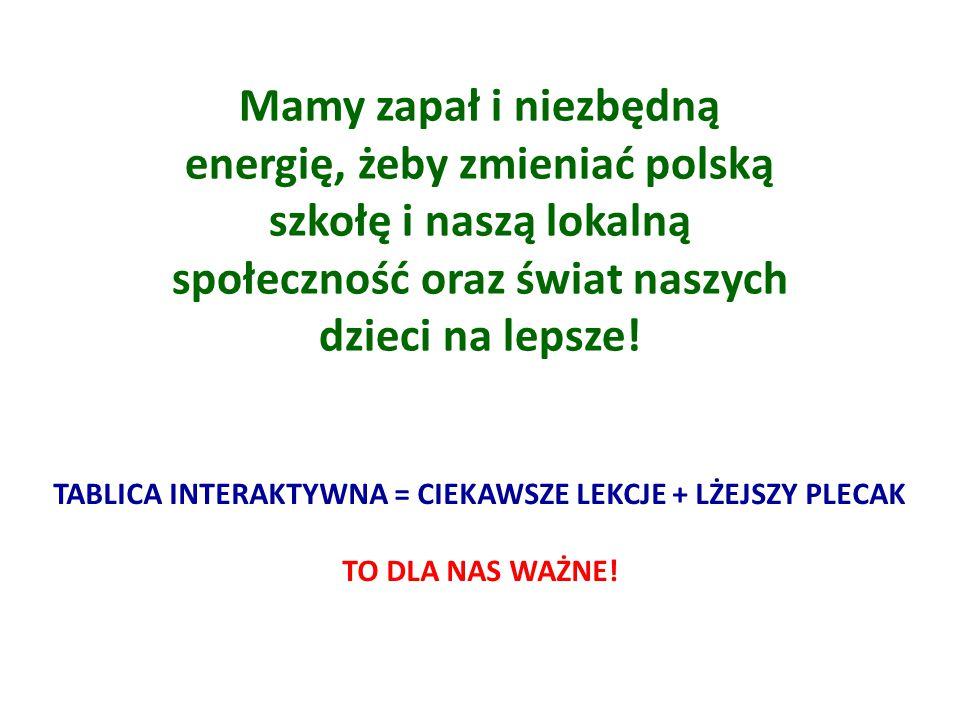 Mamy zapał i niezbędną energię, żeby zmieniać polską szkołę i naszą lokalną społeczność oraz świat naszych dzieci na lepsze.