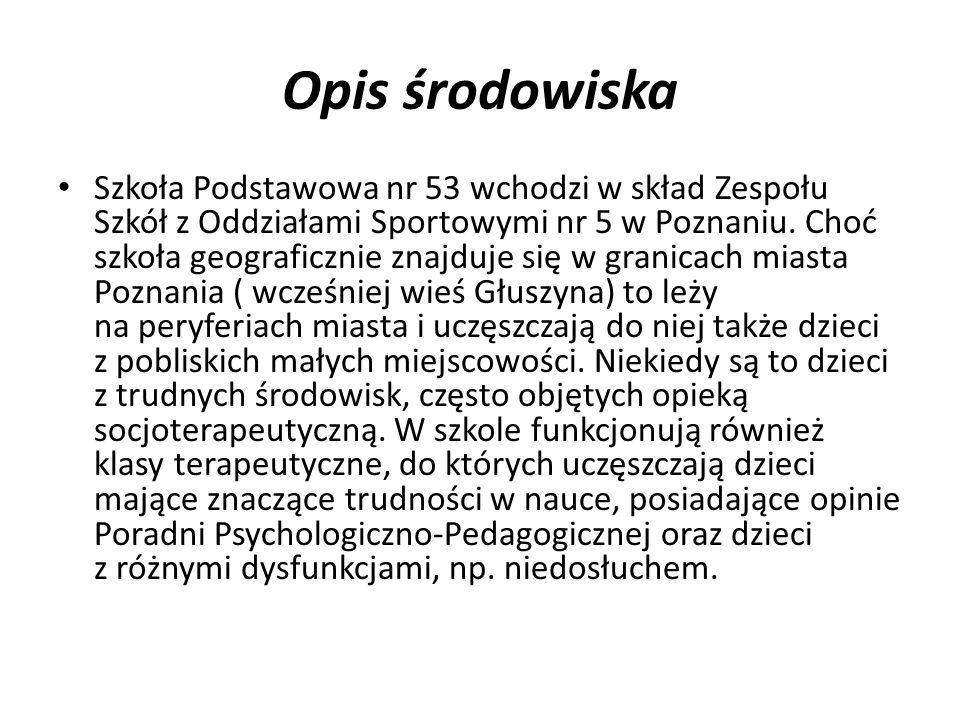 Opis środowiska Szkoła Podstawowa nr 53 wchodzi w skład Zespołu Szkół z Oddziałami Sportowymi nr 5 w Poznaniu.
