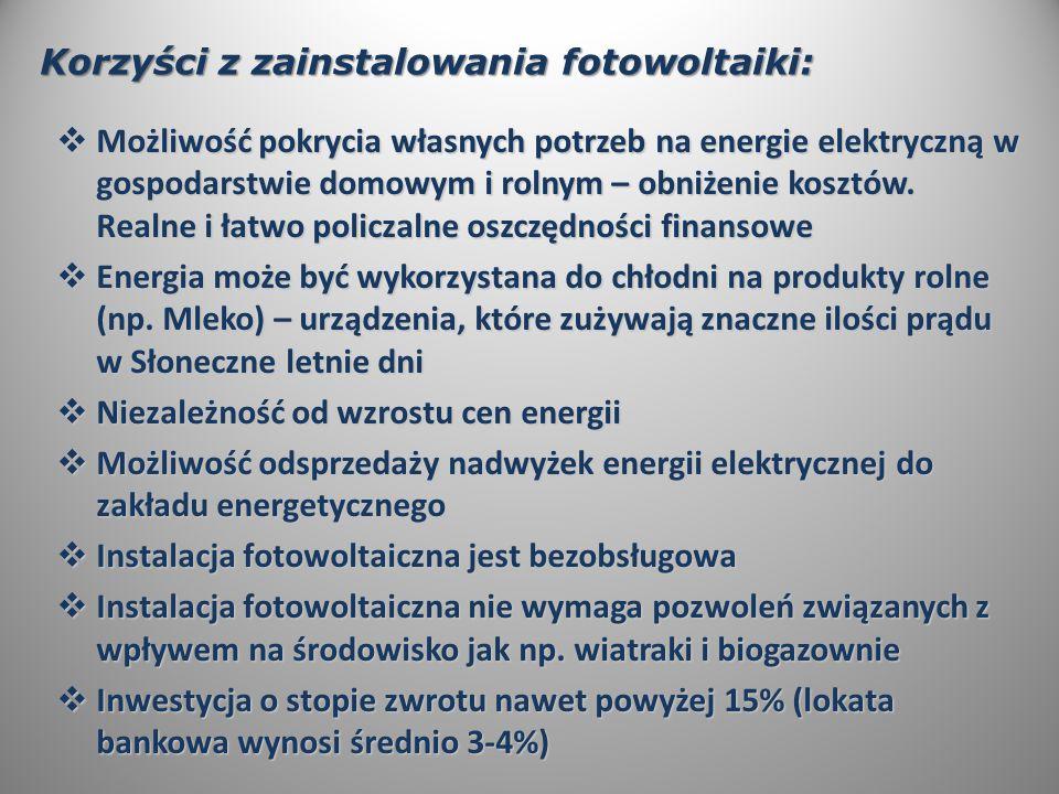 Korzyści z zainstalowania fotowoltaiki:  Możliwość pokrycia własnych potrzeb na energie elektryczną w gospodarstwie domowym i rolnym – obniżenie kosztów.