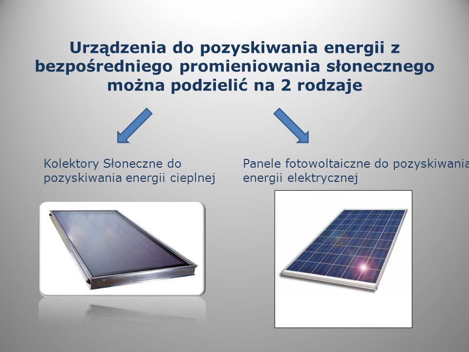 Urządzenia do pozyskiwania energii z bezpośredniego promieniowania słonecznego można podzielić na 2 rodzaje Kolektory Słoneczne do pozyskiwania energii cieplnej Panele fotowoltaiczne do pozyskiwania energii elektrycznej