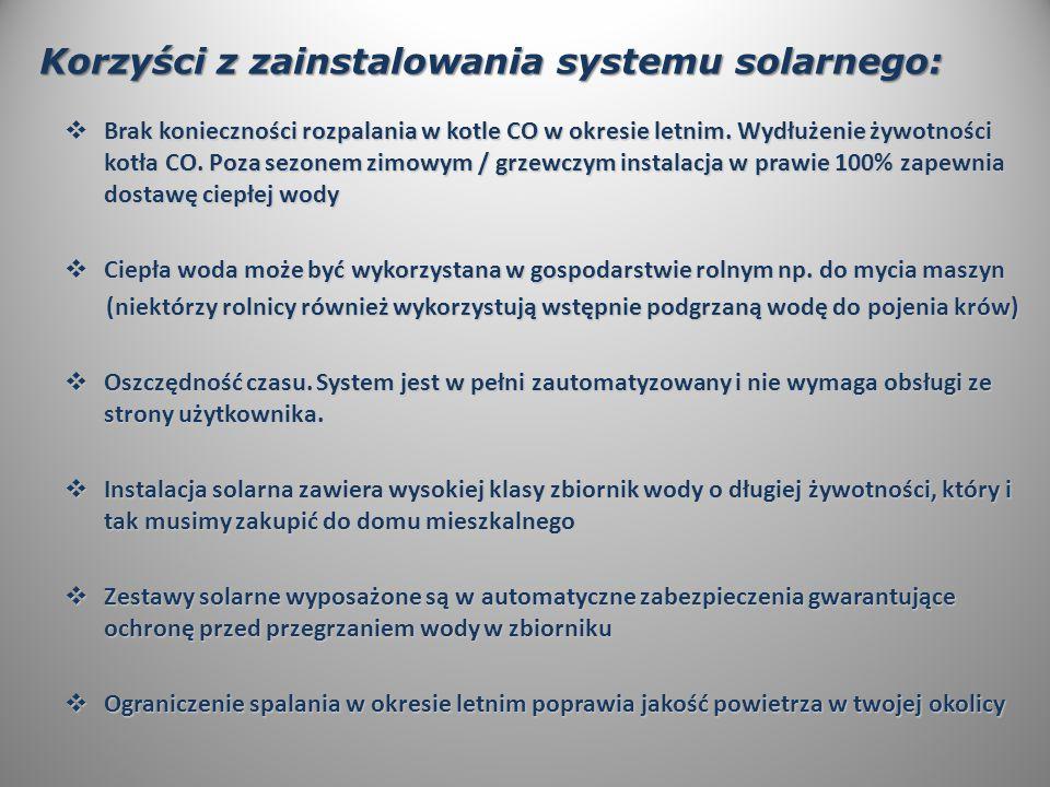Korzyści z zainstalowania systemu solarnego:  Brak konieczności rozpalania w kotle CO w okresie letnim.