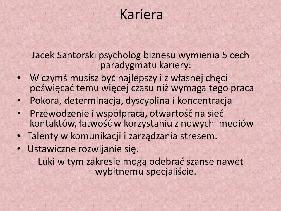 Kariera Jacek Santorski psycholog biznesu wymienia 5 cech paradygmatu kariery: W czymś musisz być najlepszy i z własnej chęci poświęcać temu więcej cz