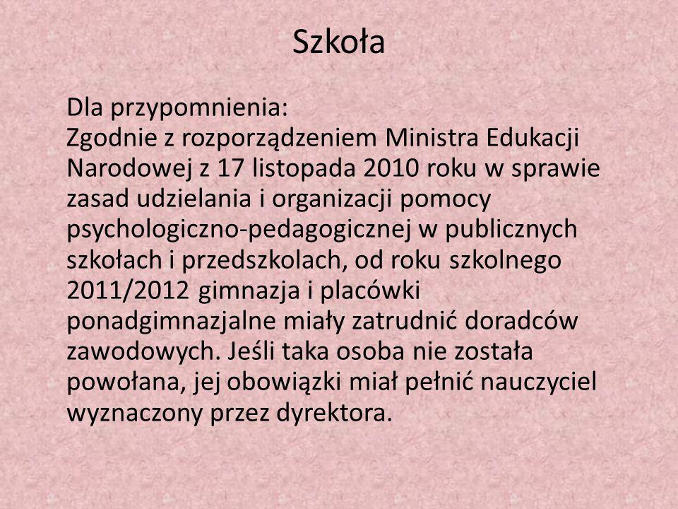 Szkoła Dla przypomnienia: Zgodnie z rozporządzeniem Ministra Edukacji Narodowej z 17 listopada 2010 roku w sprawie zasad udzielania i organizacji pomo