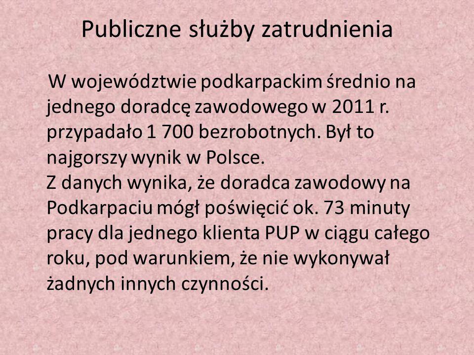 Publiczne służby zatrudnienia W województwie podkarpackim średnio na jednego doradcę zawodowego w 2011 r. przypadało 1 700 bezrobotnych. Był to najgor