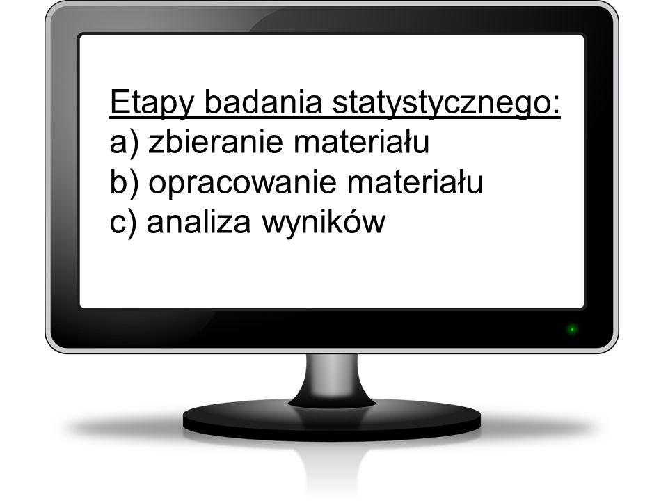 Etapy badania statystycznego: a) zbieranie materiału b) opracowanie materiału c) analiza wyników