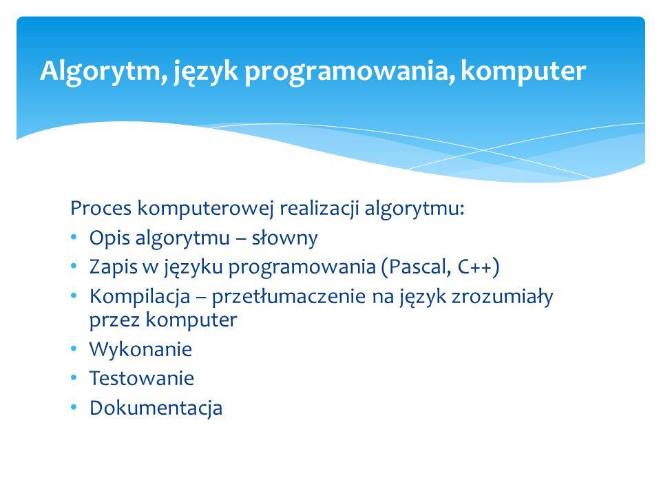 Proces komputerowej realizacji algorytmu: Opis algorytmu – słowny Zapis w języku programowania (Pascal, C++) Kompilacja – przetłumaczenie na język zro