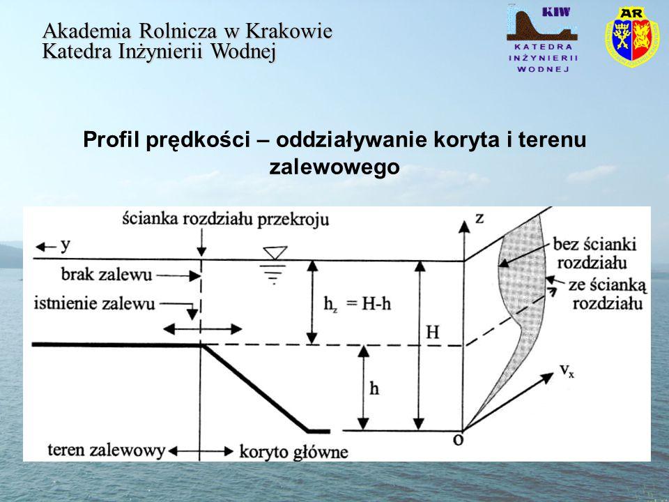 Profil prędkości – oddziaływanie koryta i terenu zalewowego Akademia Rolnicza w Krakowie Katedra Inżynierii Wodnej