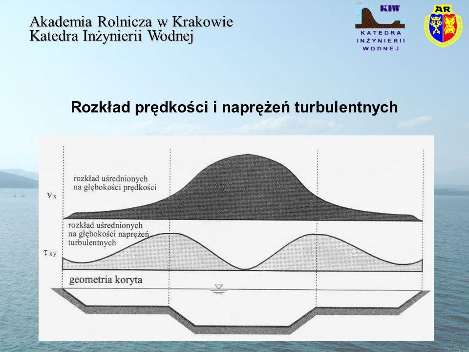 Rozkład prędkości i naprężeń turbulentnych Akademia Rolnicza w Krakowie Katedra Inżynierii Wodnej
