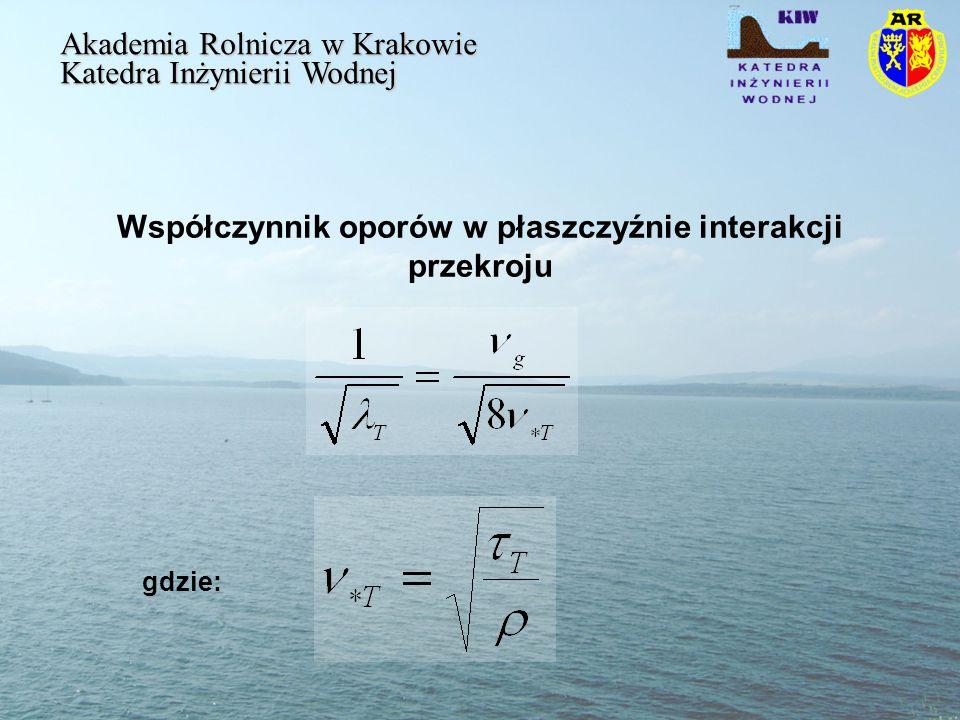 Współczynnik oporów w płaszczyźnie interakcji przekroju Akademia Rolnicza w Krakowie Katedra Inżynierii Wodnej gdzie:
