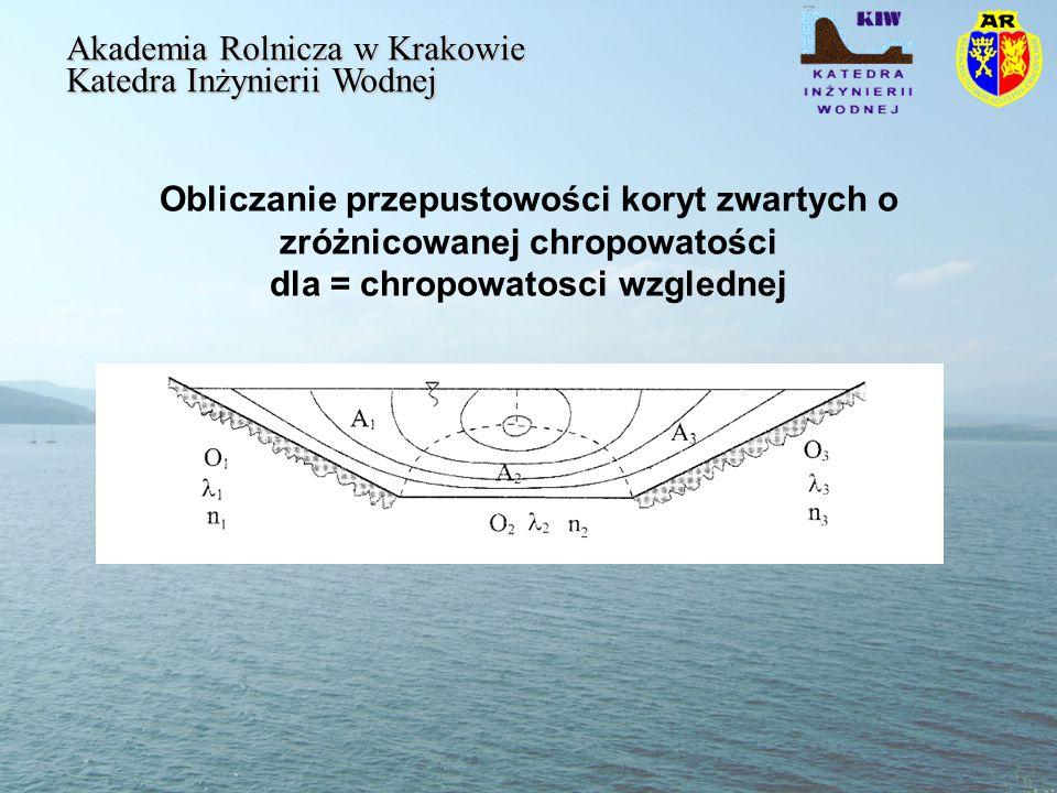Obliczanie przepustowości koryt zwartych o zróżnicowanej chropowatości dla = chropowatosci wzglednej Akademia Rolnicza w Krakowie Katedra Inżynierii Wodnej