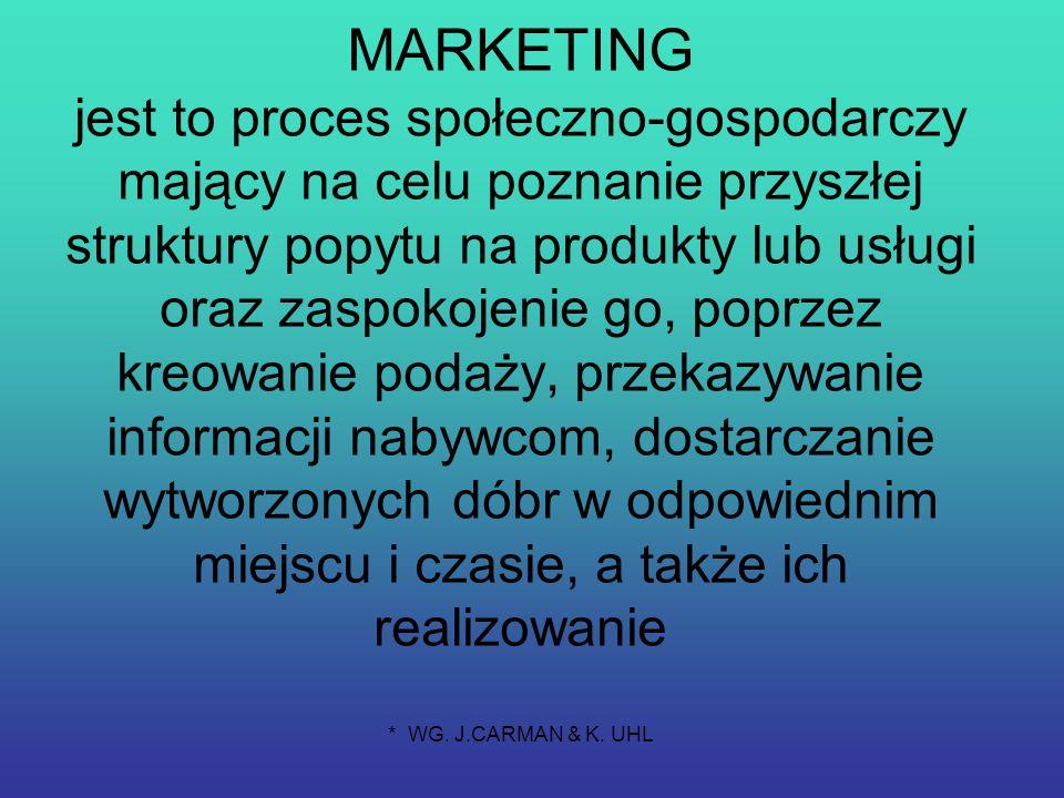 MARKETING jest to proces społeczno-gospodarczy mający na celu poznanie przyszłej struktury popytu na produkty lub usługi oraz zaspokojenie go, poprzez kreowanie podaży, przekazywanie informacji nabywcom, dostarczanie wytworzonych dóbr w odpowiednim miejscu i czasie, a także ich realizowanie * WG.