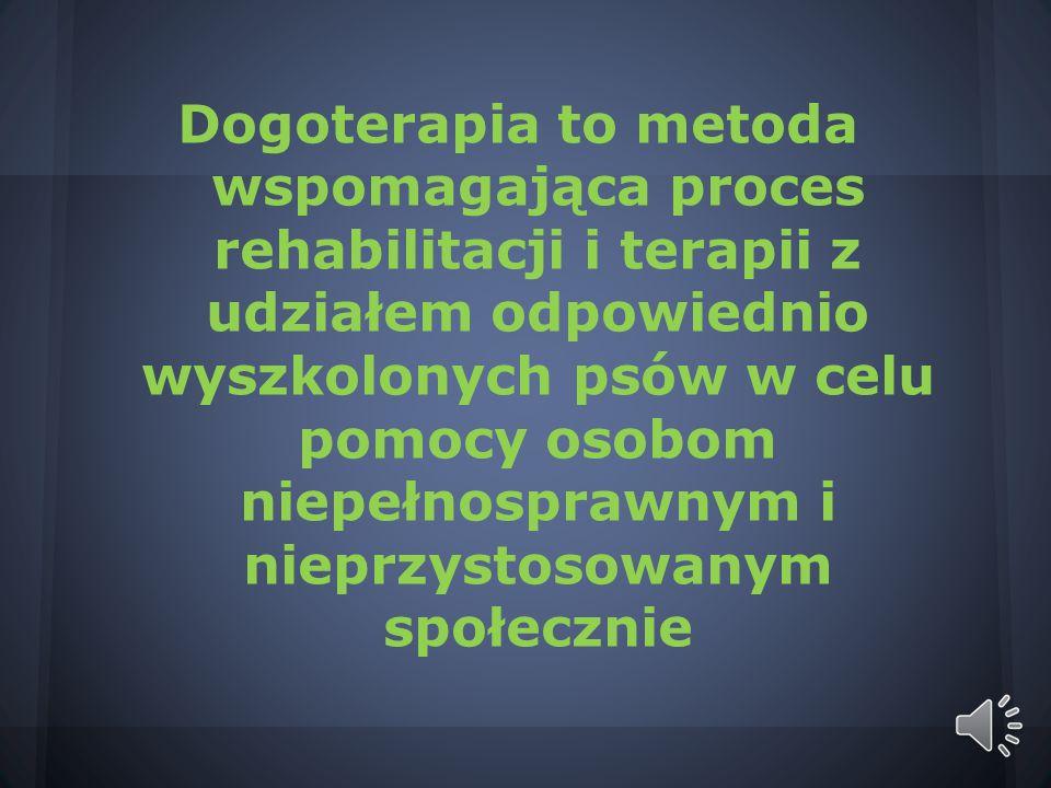 Dogoterapia to metoda wspomagająca proces rehabilitacji i terapii z udziałem odpowiednio wyszkolonych psów w celu pomocy osobom niepełnosprawnym i nieprzystosowanym społecznie