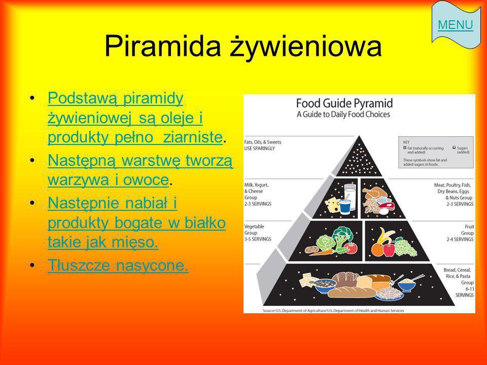 Piramida żywieniowa Podstawą piramidy żywieniowej są oleje i produkty pełno ziarniste.Podstawą piramidy żywieniowej są oleje i produkty pełno ziarniste Następną warstwę tworzą warzywa i owoce.Następną warstwę tworzą warzywa i owoce Następnie nabiał i produkty bogate w białko takie jak mięso.Następnie nabiał i produkty bogate w białko takie jak mięso.