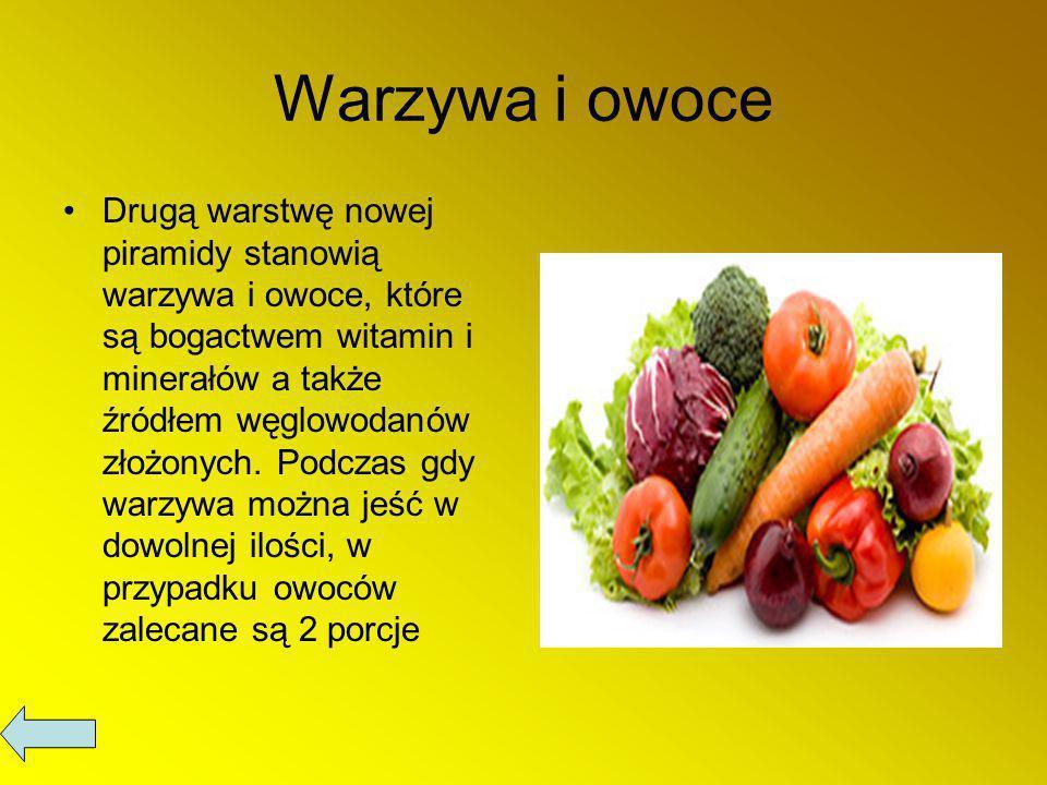 Warzywa i owoce Drugą warstwę nowej piramidy stanowią warzywa i owoce, które są bogactwem witamin i minerałów a także źródłem węglowodanów złożonych.