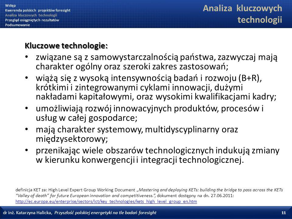 dr inż. Katarzyna Halicka, Przyszłość polskiej energetyki na tle badań foresight 11 Kluczowe technologie: związane są z samowystarczalnością państwa,
