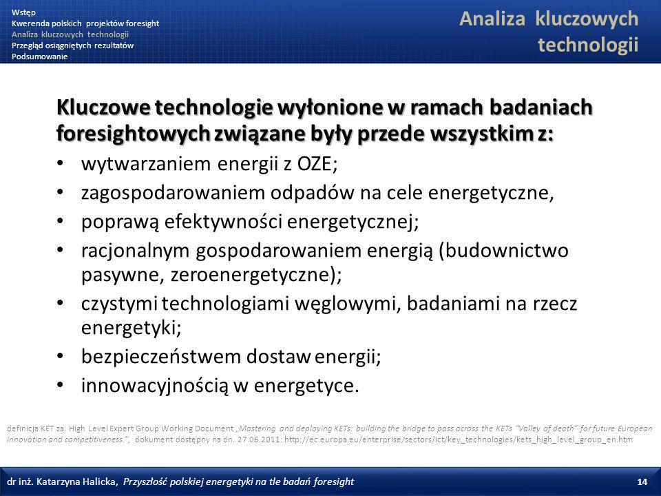 dr inż. Katarzyna Halicka, Przyszłość polskiej energetyki na tle badań foresight 14 Kluczowe technologie wyłonione w ramach badaniach foresightowych z