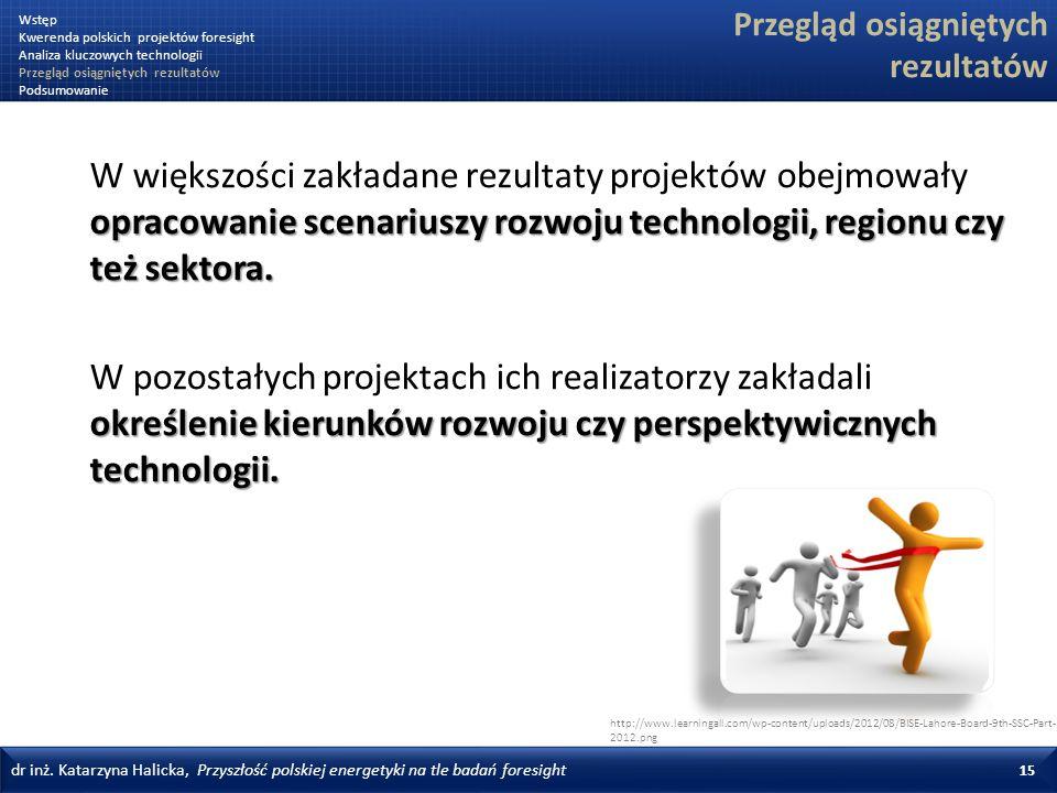 dr inż. Katarzyna Halicka, Przyszłość polskiej energetyki na tle badań foresight 15 Przegląd osiągniętych rezultatów opracowanie scenariuszy rozwoju t