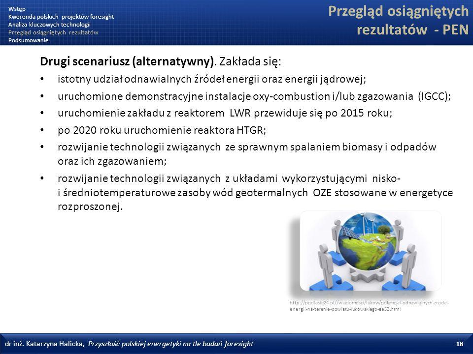 dr inż. Katarzyna Halicka, Przyszłość polskiej energetyki na tle badań foresight 18 Przegląd osiągniętych rezultatów - PEN Drugi scenariusz (alternaty