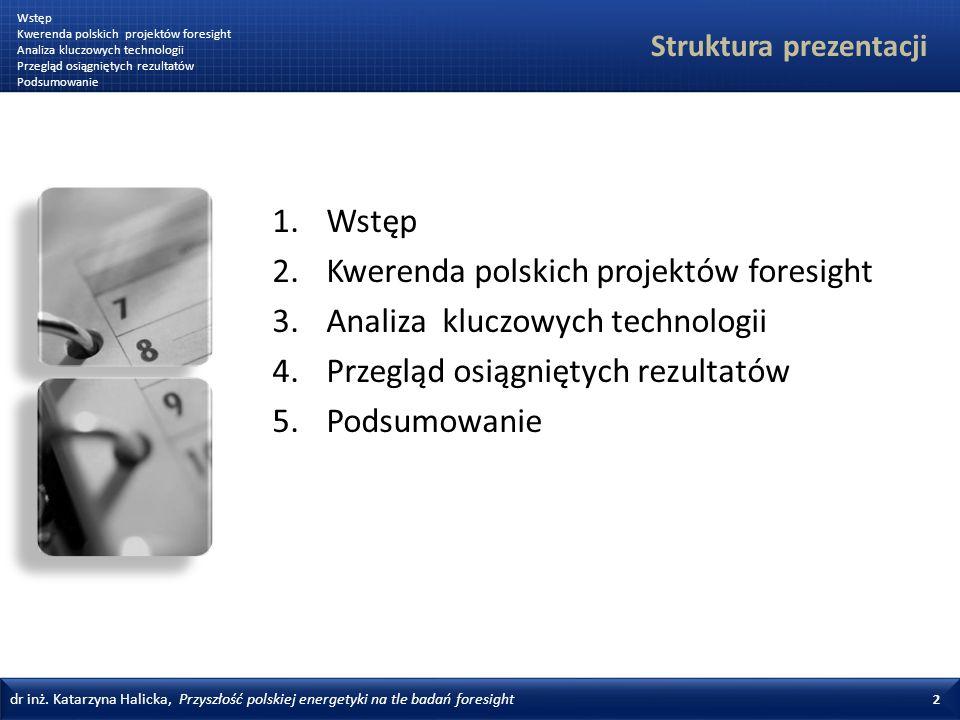 dr inż.Katarzyna Halicka, Przyszłość polskiej energetyki na tle badań foresight 13 Rysunek 3.