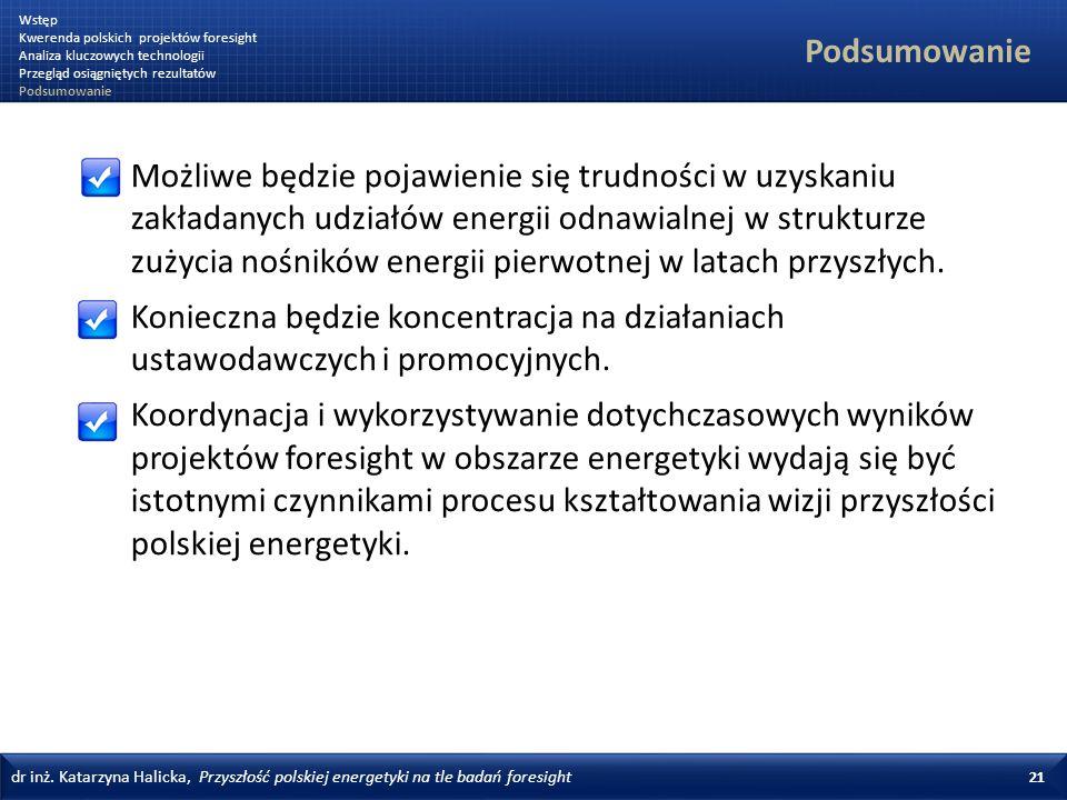 dr inż. Katarzyna Halicka, Przyszłość polskiej energetyki na tle badań foresight 21 Podsumowanie Możliwe będzie pojawienie się trudności w uzyskaniu z