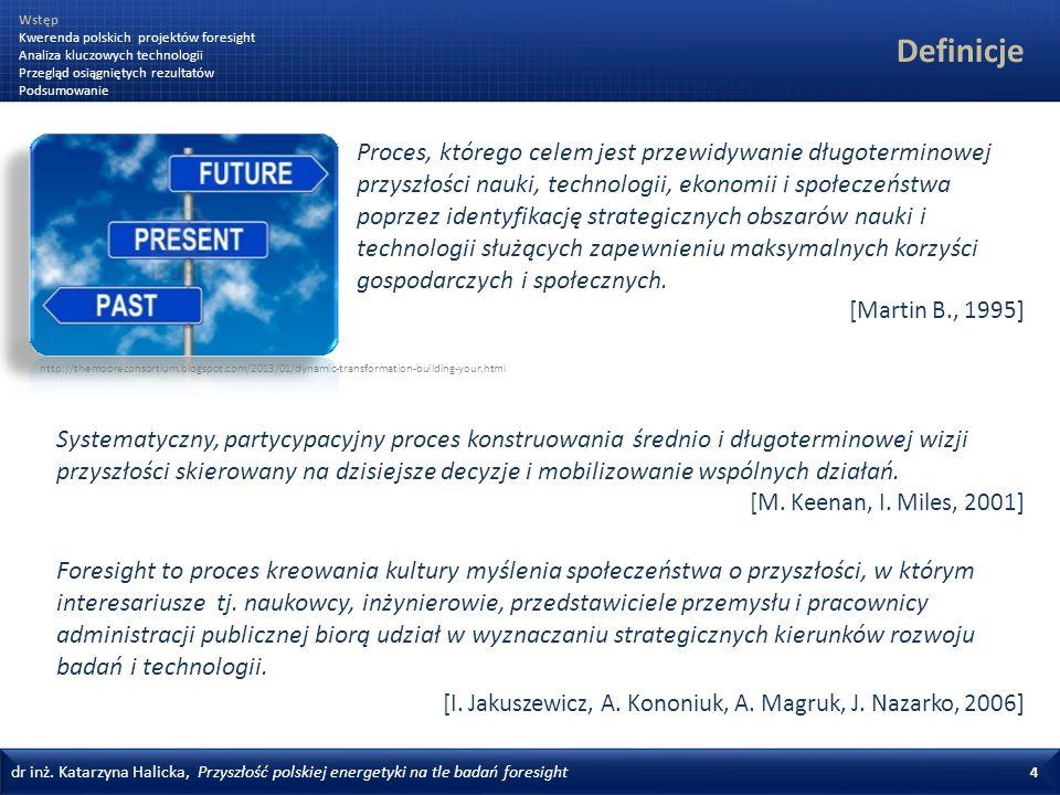 dr inż. Katarzyna Halicka, Przyszłość polskiej energetyki na tle badań foresight 4 Definicje Foresight to proces kreowania kultury myślenia społeczeńs