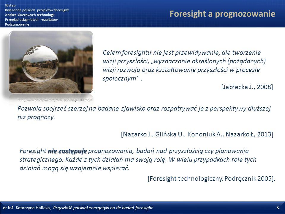 dr inż. Katarzyna Halicka, Przyszłość polskiej energetyki na tle badań foresight 5 Foresight a prognozowanie nie zastępuje Foresight nie zastępuje pro